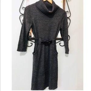 Sweater dress with belt.
